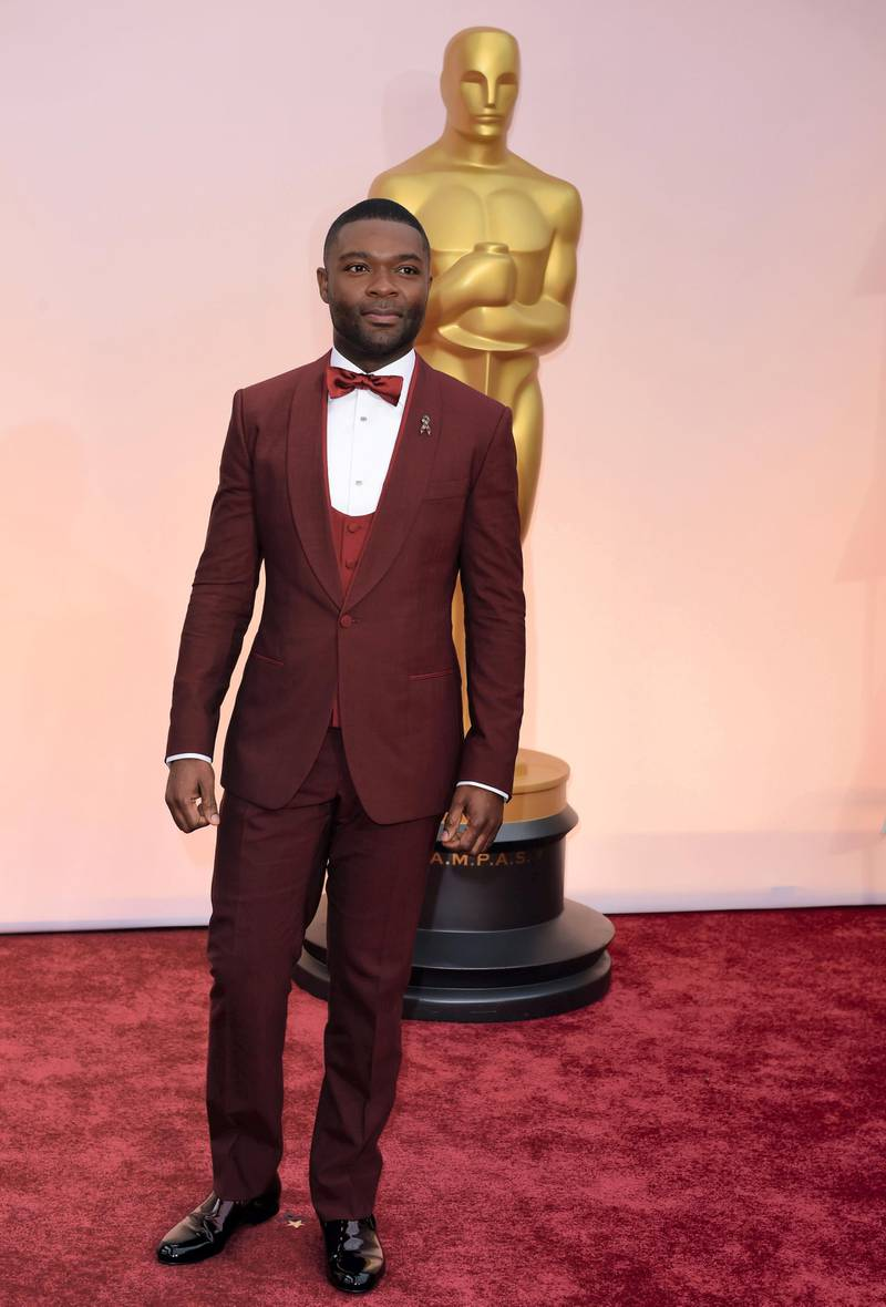 David Oyelowo poses  on the red carpet for the 87th Oscars on February 22, 2015 in Hollywood, California. AFP PHOTO/ MARK RALSTON (Photo by MARK RALSTON / AFP)