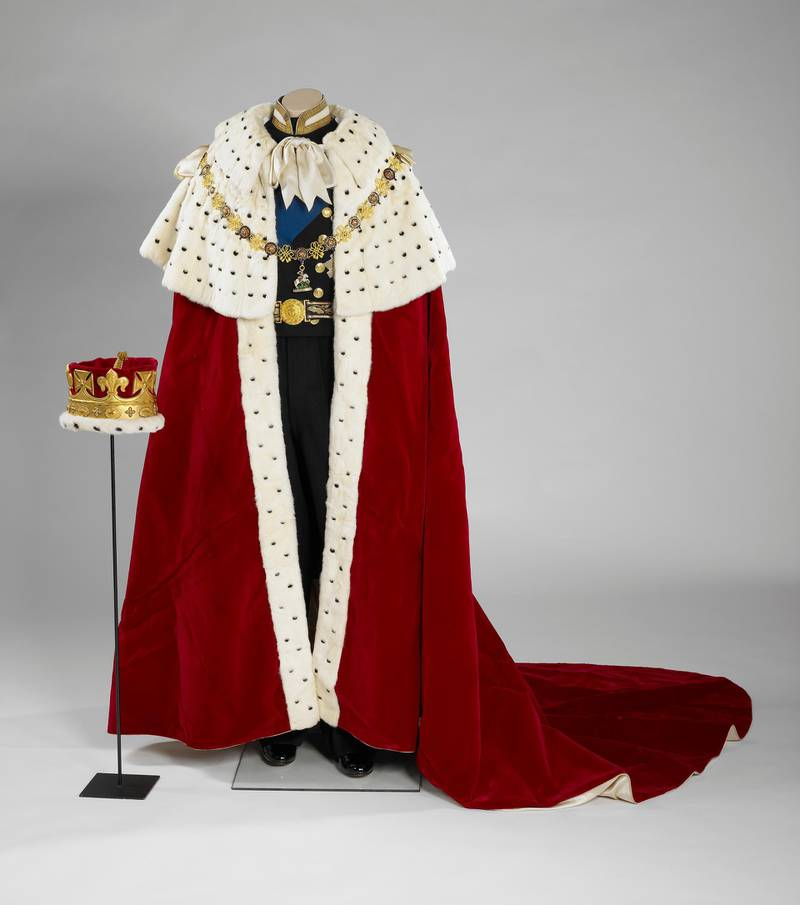 The Coronation Robe and Coronet worn by HRH The Prince Philip, Duke of Edinburgh during Her Majesty The Queen's Coronation on 2 June 1953. Courtesy Royal Collection Trust