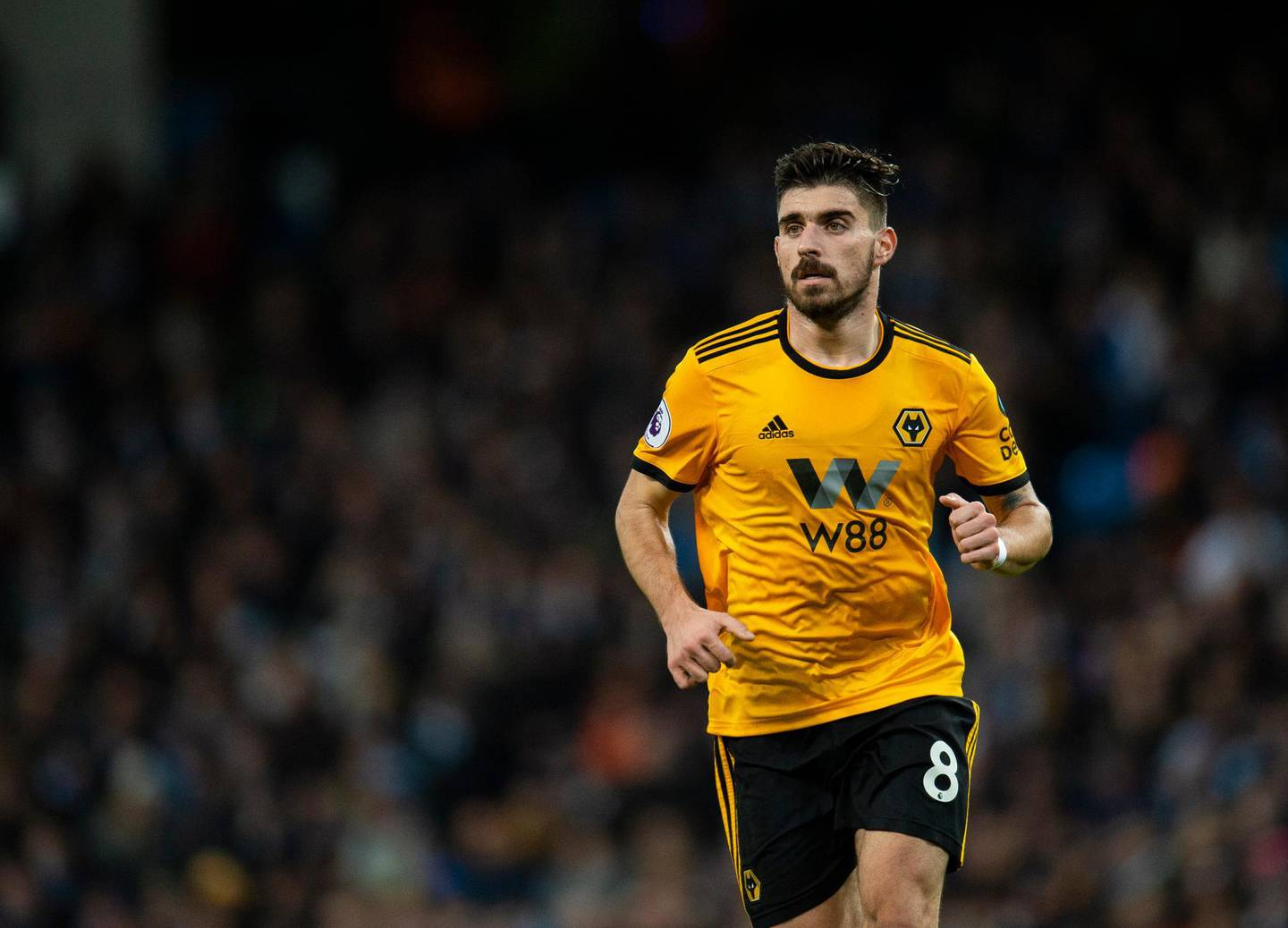 epa07284389 Wolverhampton Wanderers Ruben Neves in action during the English Premier League soccer match between Manchester City and Wolverhampton Wanderers held at the Etihad Stadium in Manchester, Britain, 14 January 2019.  EPA/PETER POWELL EDITORIAL USE ONLY. No use with unauthorized audio, video, data, fixture lists, club/league logos or 'live' services. Online in-match use limited to 120 images, no video emulation. No use in betting, games or single club/league/player publications