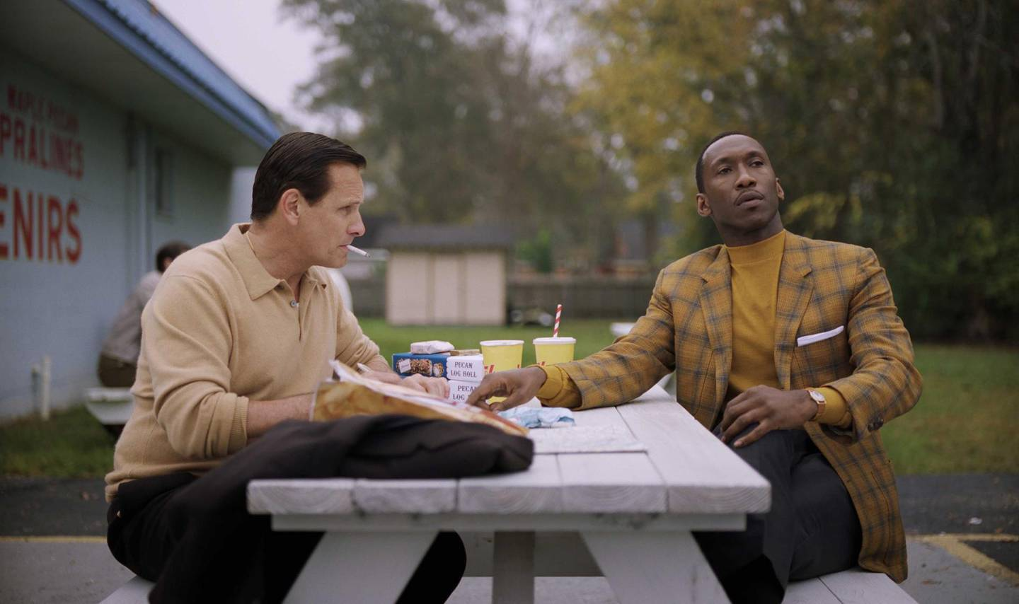 """Viggo Mortensen as Tony Vallelonga and Mahershala Ali as Dr. Donald Shirley in """"Green Book,"""" directed by Peter Farrelly. Photo Credit: Universal Pictures"""
