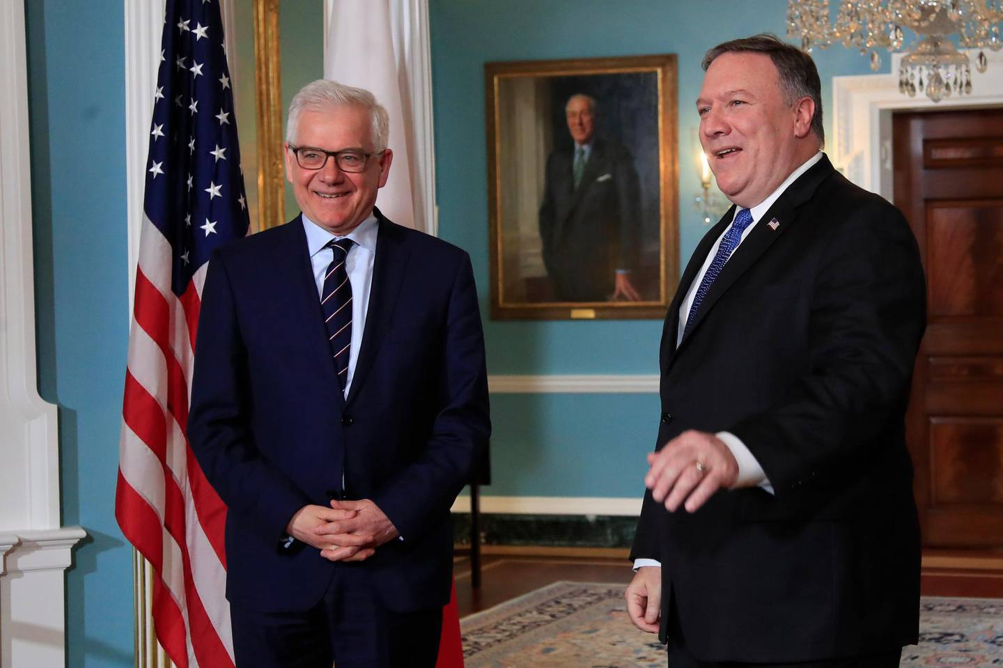 Secretary of State Mike Pompeo, right, meets with Polish Foreign Minister Jacek Czaputowicz at the State Department in Washington, Monday, May 21, 2018. (AP Photo/Manuel Balce Ceneta)