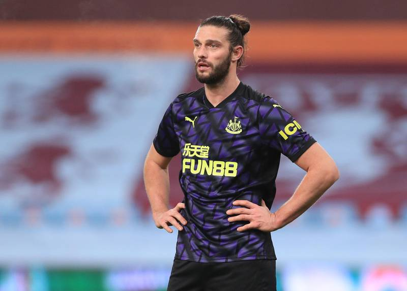 BIRMINGHAM, ENGLAND - JANUARY 23: Andy Carroll of Newcastle United looks on during the Premier League match between Aston Villa and Newcastle United at Villa Park on January 23, 2021 in Birmingham, England. Sporting stadiums around England remain under strict restrictions due to the Coronavirus Pandemic as Government social distancing laws prohibit fans inside venues resulting in games being played behind closed doors. (Photo by Mike Egerton - Pool/Getty Images)