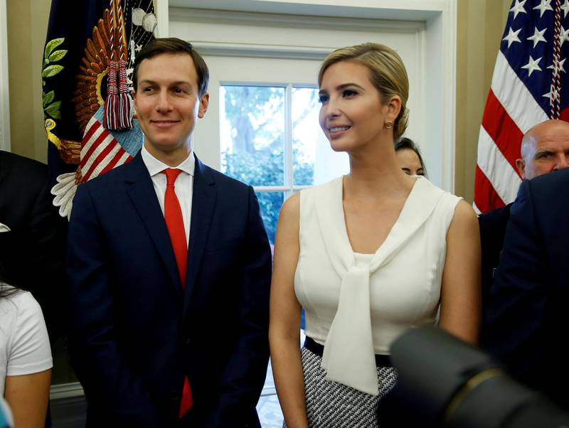 White House Senior Adviser Jared Kushner and Ivanka Trump stand together after John Kelly was sworn in as White House Chief of Staff in the Oval Office of the White House in Washington, U.S., July 31, 2017. REUTERS/Joshua Roberts     TPX IMAGES OF THE DAY