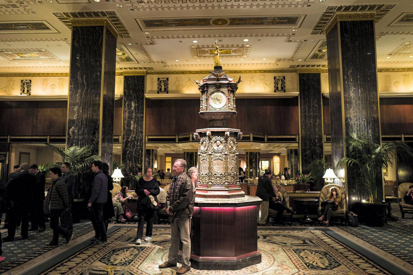 NEW YORK, NY - FEBRUARY 28: A view of the main lobby at the Waldorf Astoria Hotel, February 28, 2017 in New York City. The iconic hotel, which opened in 1931, will close on Wednesday for a two-year renovation that will transform it into a smaller hotel with condo units. (Photo by Drew Angerer/Getty Images)
