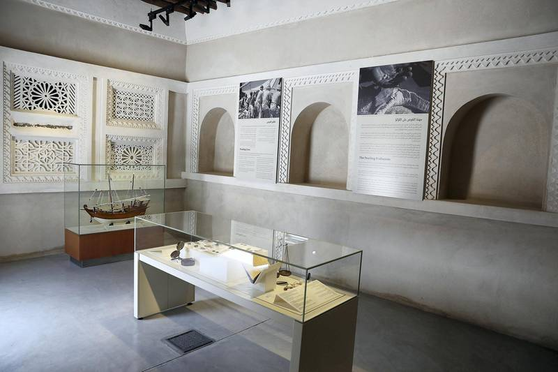 SHARJAH , UNITED ARAB EMIRATES , APRIL 24  – 2018 :- View of the pearl museum at the Bait Al Naboodah which was built around 1845 is one of the Sharjah's most stunning heritage buildings. Once the home of Obaid Al Naboodah , one of Sharjah's most successful pearl merchants, the grand two storey building has undergone extensive renovation to return it to its former glory in the heart of old Sharjah. ( Pawan Singh / The National ) For Arts & Life. Story by Melissa Gronlund