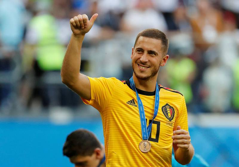 FILE PHOTO: Soccer Football - World Cup - Third Place Play Off - Belgium v England - Saint Petersburg Stadium, Saint Petersburg, Russia - July 14, 2018  Belgium's Eden Hazard celebrates with a medal after the match    REUTERS/Toru Hanai/File Photo