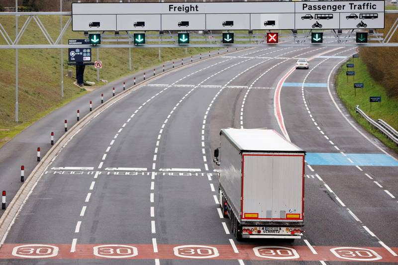 A lorry arrives at the Eurotunnel check-in, following the end of the Brexit transition period, in Folkstone, Britain, January 15, 2021. REUTERS/John Sibley