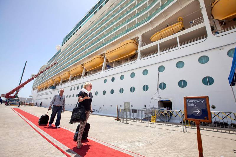 Dubai, United Arab Emirates, May 21, 2013 -  Passengers arriving at the cruise ship Mariner of the Seas at Mina Rashid. ( Jaime Puebla / The National Newspaper )