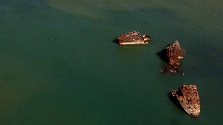An image that illustrates this article Volcanic activity in Japanese island exposes sunken Second World War ships
