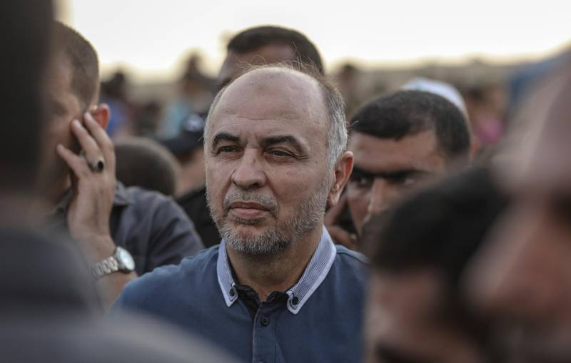 Maher Salah, prominent leader in the Hamas Palestinian Islamist movement and head of Hamas abroad, takes part in a protest along the Israel-Gaza border, in Jabalia, northern Gaza Strip, 03 August 2018. Photo by: Wissam Nassar/picture-alliance/dpa/AP Images