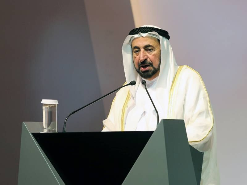 DUBAI, UNITED ARAB EMIRATES -HH Sheikh Dr. Sultan bin Muhammad Al Qasimi, UAE Supreme Council Member and Ruler of Sharjah at the International Summit Communication Forum 2019 at Expo Centre Sharjah.  Leslie Pableo for The National for Patrick Ryan's story