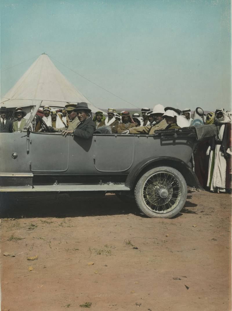 T.E. Lawrence, Sir Herbert Samuel, and others in automobile. Meetings of British, Arab, and Bedouin officials in Amman, Jordan, April 1921. Courtesy Library of Congress, Prints & Photographs Division