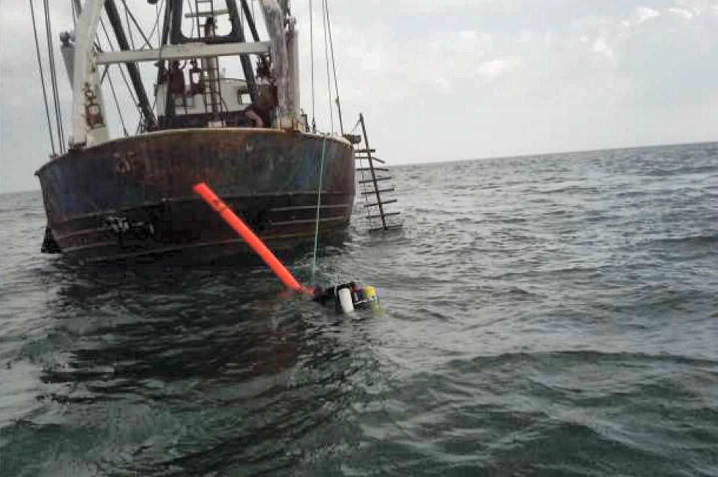 French surveillance officers photographed Ingram diving from De Bounty. (Handout/Kent Police)