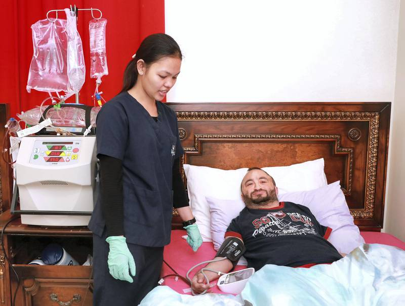Abu Dhabi, U.A.E., August 16 , 2018. Dialysis patient Firas, during his home dialysis treatment at Al Shamkha. Victor Besa / The National Section:  NA Reporter:  Shareena Al Nuwais