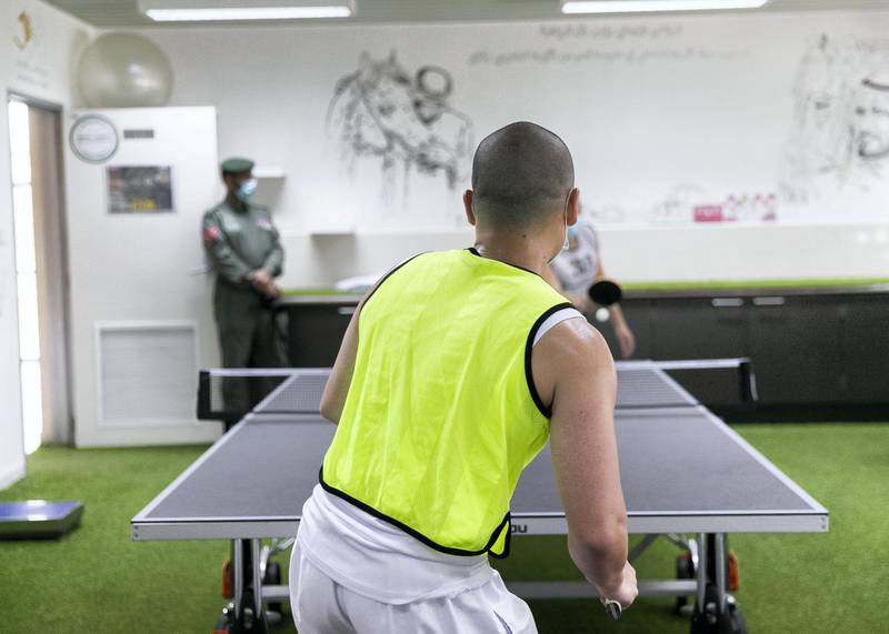 DUBAI, UNITED ARAB EMIRATES. 22 JULY 2020. Two inmates play table tennis at Al Awir Central Jail.(Photo: Reem Mohammed/The National)Reporter:Section: