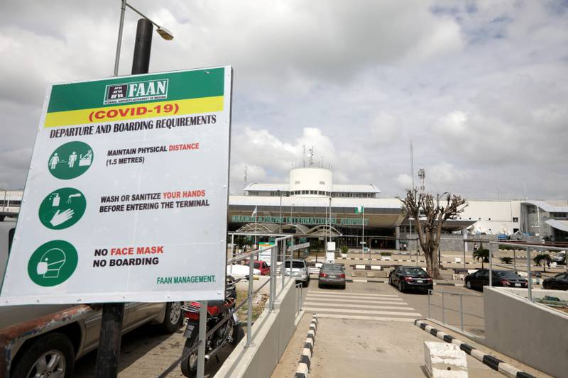 A FAAN (COVID-19) sign is seen at the domestic wing of the Nnamdi Azikiwe International airport during preparation ahead of the reopening of the airport for domestic flight operations that is scheduled for July 8, 2020 in Abuja, Nigeria July 6, 2020. REUTERS/Afolabi Sotunde