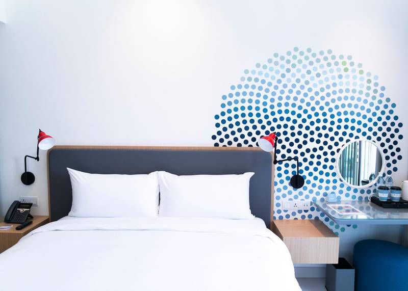 DUBAI, UNITED ARAB EMIRATES. 16 DECEMBER 2020. Guest room at the newly opened Rove La Mer hotel.(Photo: Reem Mohammed/The National)Reporter:Section: