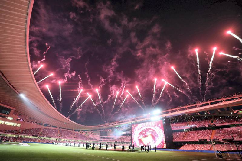 Fireworks light up the sky before the game between Shabab Al Ahli and Al Nasr in the PresidentÕs Cup final in Al Ain on May 16th, 2021. Chris Whiteoak / The National.  Reporter: John McAuley for Sport