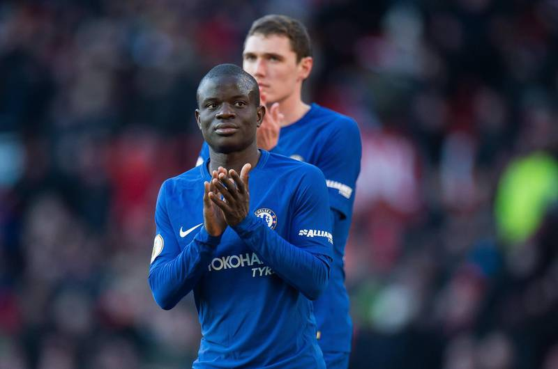 epa06564750 Chelsea's N'Golo Kante reacts after the English Premier League soccer match between Manchester United and Chelsea FC held at Old Trafford, Manchester, Britain, 25 February 2018.  EPA/PETER POWELL EDITORIAL USE ONLY. No use with unauthorized audio, video, data, fixture lists, club/league logos or 'live' services. Online in-match use limited to 75 images, no video emulation. No use in betting, games or single club/league/player publications.