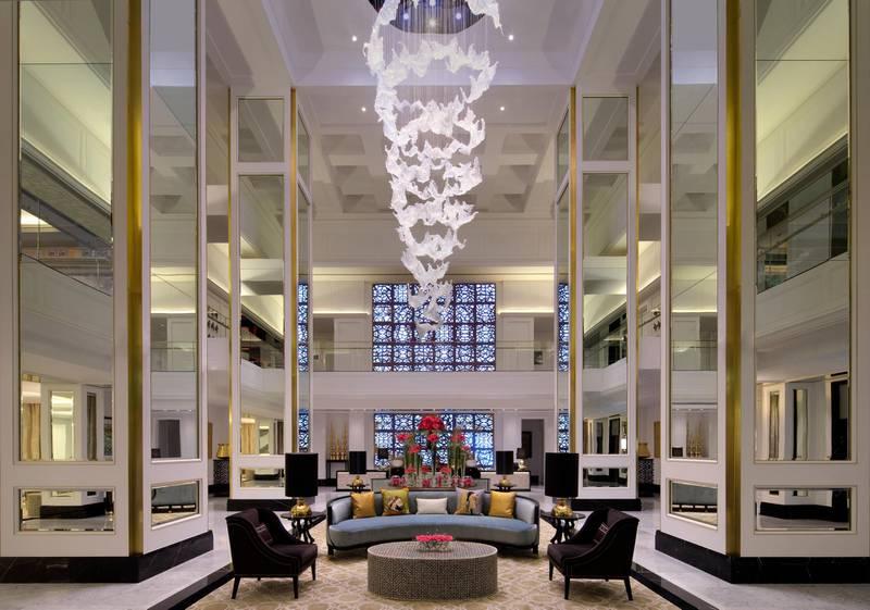 A handout photo of lobby at Taj Dubai hotel (Courtesy: Taj Dubai) NOTE: For Adam Workman's hotel insider review for Weekend section *** Local Caption ***  taj-dubai-hotel05.jpg