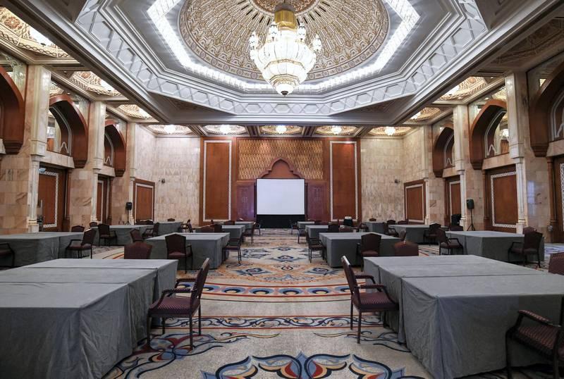 40 Year Anniversary of GCC Summit-AD  The ÔDar El IstiqbalÕ ballroom where the GCC Summit took place in 1981 at the InterContinental Hotel in Abu Dhabi on May 20, 2021. Khushnum Bhandari / The National  Reporter: Kelly Clarke News