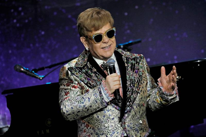 epa06471625 British musician and composer Elton John speaks at a press conference in New York, New York, USA, 24 January 2018. Elton John announced he will stop touring however, he will spend three years on the road saying goodbye to his fans with a 300-dates tour he's dubbed 'Farewell Yellow Brick Road'.  EPA/PETER FOLEY