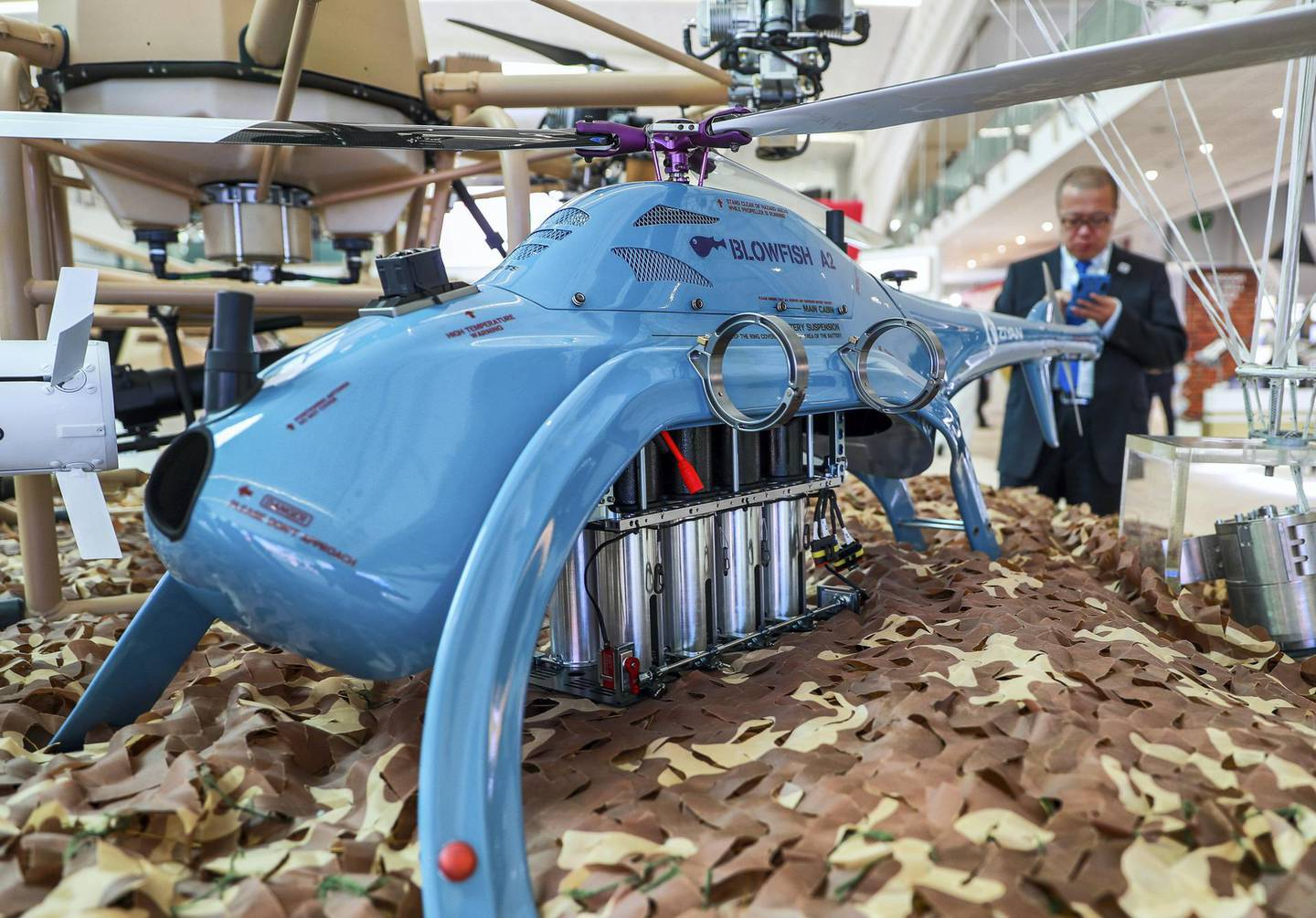 Abu Dhabi, U.A.E., February 17, 2019. INTERNATIONAL DEFENCE EXHIBITION AND CONFERENCE  2019 (IDEX) Day 1--  The Chinese made Blowfish A2, helicopter drone.Victor Besa/The NationalSection:  NAReporter;