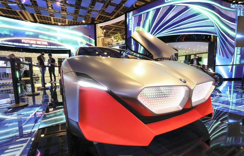 Dubai, United Arab Emirates - December 06, 2020: BMW Vision M NEXT during GITEX 2020 at the World Trade Centre. December 6th, 2020 in Dubai. Chris Whiteoak / The National