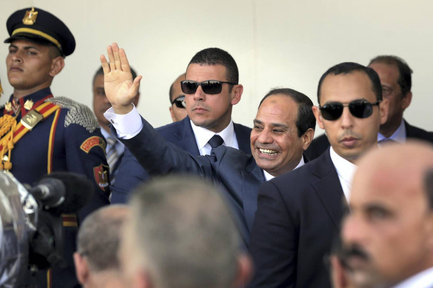 SUEZ, EGYPT - AUGUST 06:  President Abdel Fattah el-Sisi walks during the opening ceremony of the new Suez Canal expansion including a new 35km (22 mile) channel on August 6, 2015 in Suez, Egypt. The new channel of the Suez Canal was finished in a year at a cost of 8 billion USD and is designed to increase the speed and capacity of ships.  The new branch is being celebrated as a major nationalist project. (Photo by David Degner/Getty Images).