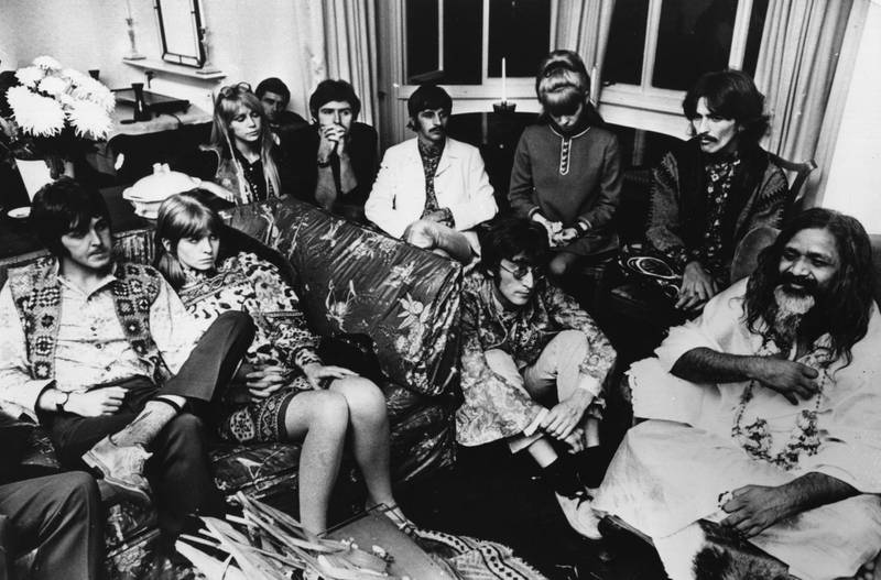 The Beatles and friends give an audience to the Maharishi Mahesh Yogi, 4th September 1967. From left to right; Paul McCartney, Jane Asher, Patti Harrison, Mike McCartney, Ringo Starr, his wife Maureen, John Lennon (1940 - 1980), George Harrison (1943 - 2001) and Maharishi Mahesh Yogi. (Photo by Keystone Features/Hulton Archive/Getty Images)