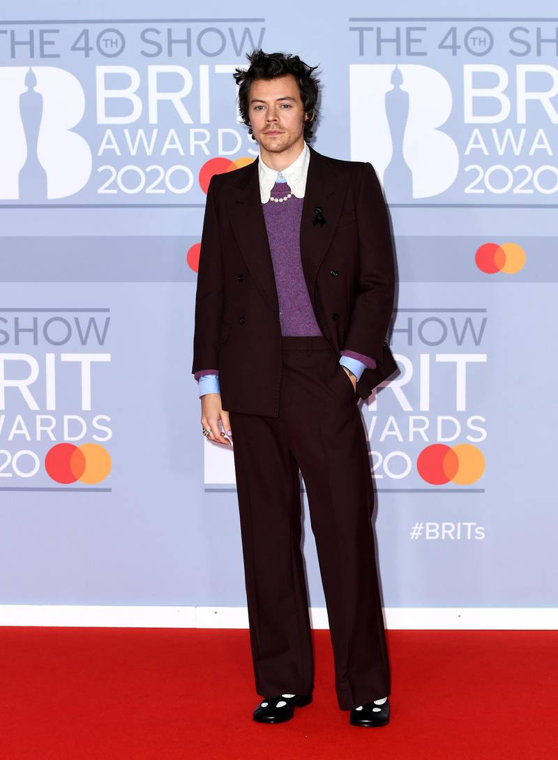 LONDON, ENGLAND - FEBRUARY 18: (EDITORIAL USE ONLY) Harry Styles attends The BRIT Awards 2020 at The O2 Arena on February 18, 2020 in London, England. (Photo by Gareth Cattermole/Getty Images)