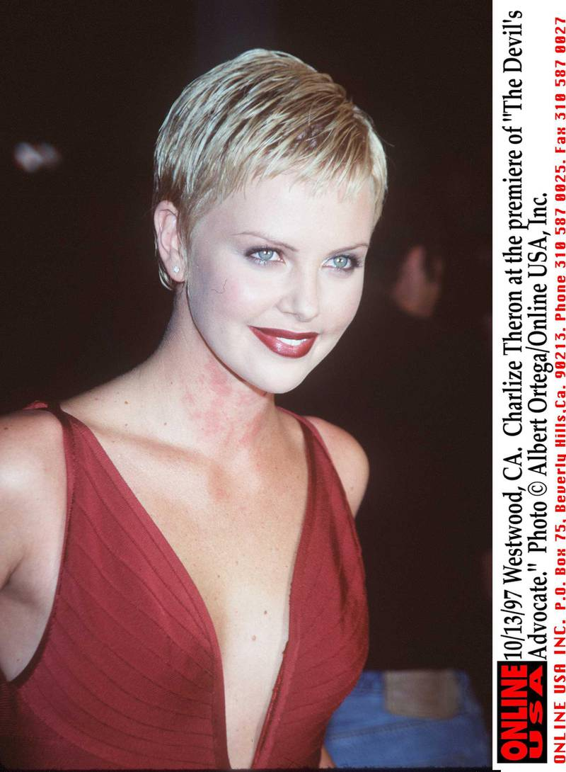 """373641 01: 10/13/97 Westwood, CA. Charlize Theron at the premiere of """"The Devil's Advocate."""""""