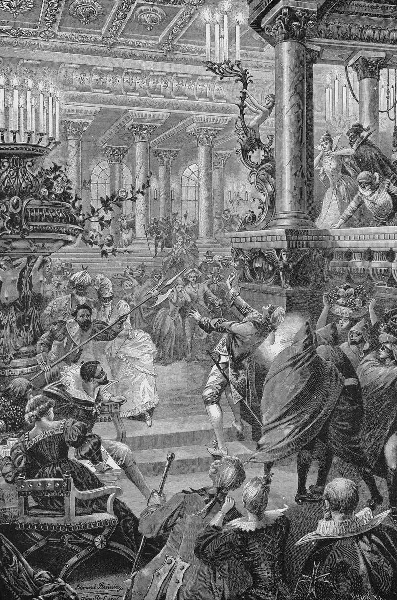 The assassination of King Gustav III of Sweden (1746 - 1792) at a masked ball in Stockholm, 16th March 1792.  (Photo by Kean Collection/Getty Images)
