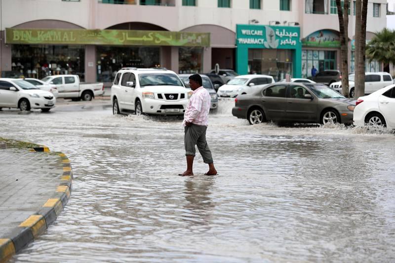 Ras Al Khaimah, United Arab Emirates - April 14, 2019: Flooding after a heavy night of rain in Ras Al Khaimah. Sunday the 14th of April 2019. Near the Oyster roundabout, Ras Al Khaimah. Chris Whiteoak / The National