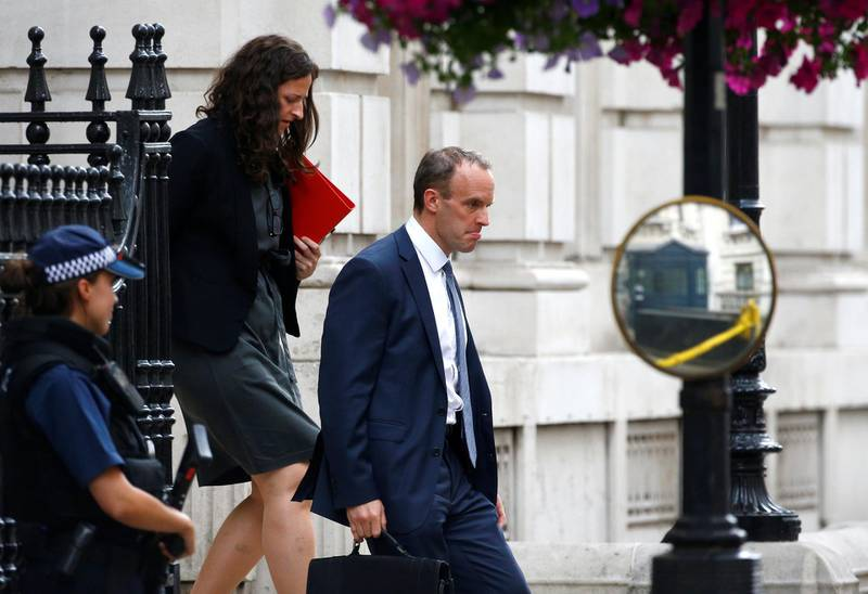 Britain's Secretary of State for Exiting the European Union Dominic Raab leaves Downing Street in Westminster, London, Britain, July 9, 2018. REUTERS/Henry Nicholls