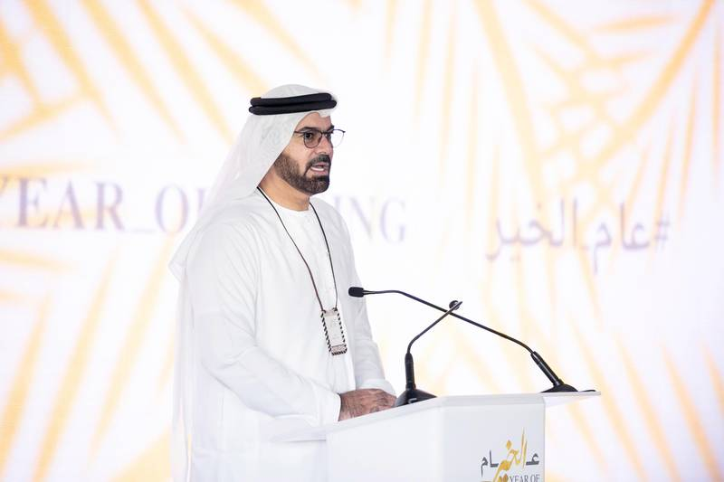 DUBAI, UNITED ARAB EMIRATES, 1 FEB 2017.   Mohammed Al Gergawi, Minister of Cabinet Affairs and the Future addresses ministers and officials who gathered this morning to come up with a national strategy that supports the objectives of the Year of Giving.  Sheikh Mohammed had called for organising the Giving Retreat last Saturday, and invited members of the community to share their ideas and suggestions for the Year of Giving through #YearofGiving on Twitter.  Photo: Reem Mohammed / The National (Reporter: Dana Moukhallati Section: NA) ID 18044 *** Local Caption ***  RM_20170201_GIVING_012.JPG