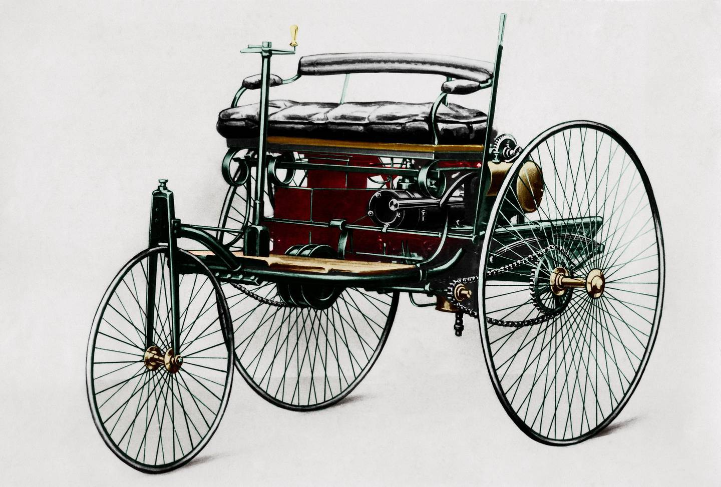 (Eingeschränkte Rechte für bestimmte redaktionelle Kunden in Deutschland. Limited rights for specific editorial clients in Germany.) Germany - Benz Patent Motorwagen 1885. The first petrol-car, a three-wheels vehicle with combustion motor and electric detonator. - 1885 Digitally colorized. Original: image no 00445524Vintage property of ullstein bild (Photo by ullstein bild/ullstein bild via Getty Images) *** Local Caption *** 01116986