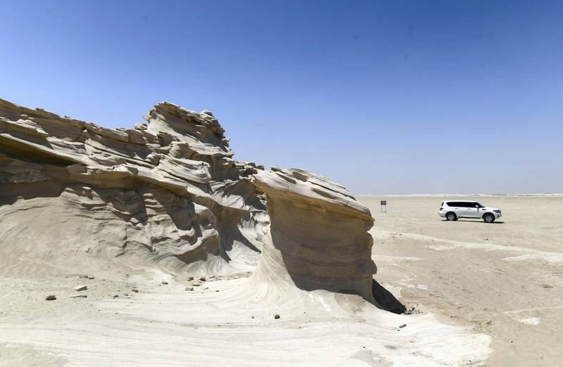 Abu Dhabi, United Arab Emirates - Ancient rock formations, a popular visitor attraction on the outskirts desert area, at Al Wathba. Khushnum Bhandari for The National