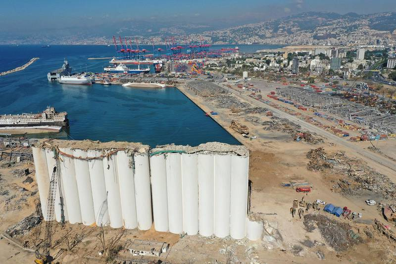 An aerial view taken on August 17, 2020, shows the damaged grain silos at the port of Beirut in the aftermath of a cataclysmic explosion that ripped through large parts of Lebanon's capital. - The August 4 explosion was caused by hazardous material left unsecured at the port for years, despite warnings over its danger, a fact that further enraged Lebanese who already saw the political class as incompetent and corrupt. (Photo by - / AFP)
