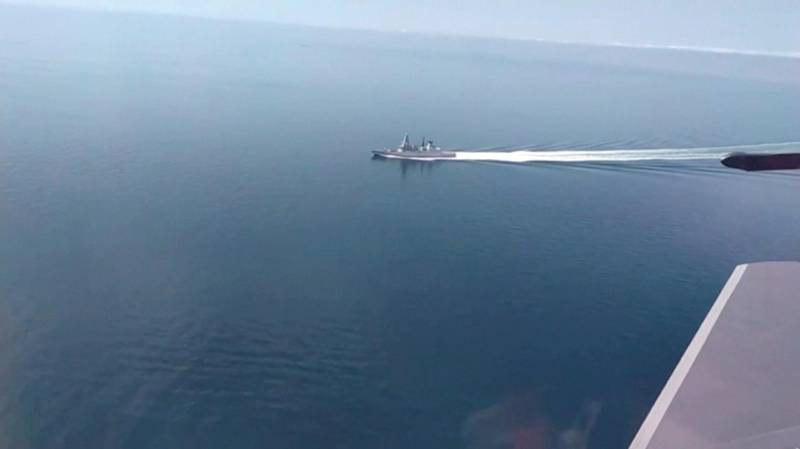 A still image taken from a video released by Russia's Defence Ministry allegedly shows British Royal Navy's Type 45 destroyer HMS Defender filmed from a Russian military aircraft in the Black Sea, June 23, 2021. Ministry of Defence of the Russian Federation/Handout via REUTERS ATTENTION EDITORS - THIS IMAGE WAS PROVIDED BY A THIRD PARTY. NO RESALES. NO ARCHIVES. MANDATORY CREDIT.