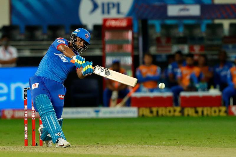 Rishabh Pant of Delhi Capitals hit a boundary during match 47 of season 13 of the Dream 11 Indian Premier League (IPL) between the Sunrisers Hyderabad and the Delhi Capitals held at the Dubai International Cricket Stadium, Dubai in the United Arab Emirates on the 27th October 2020.  Photo by: Saikat Das  / Sportzpics for BCCI