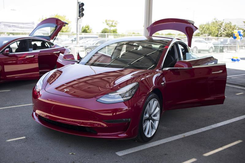 A Tesla Inc. Model 3 electric vehicle is displayed during the California Air Resources Board (CARB) 50th Anniversary Technology Symposium and Showcase in Riverside, California, U.S., on Thursday, May 17, 2018. The symposium highlights CARB's history of clean air leadership that has driven innovative solutions and made monumental improvements to Southern California's air quality. Photographer: Dania Maxwell/Bloomberg