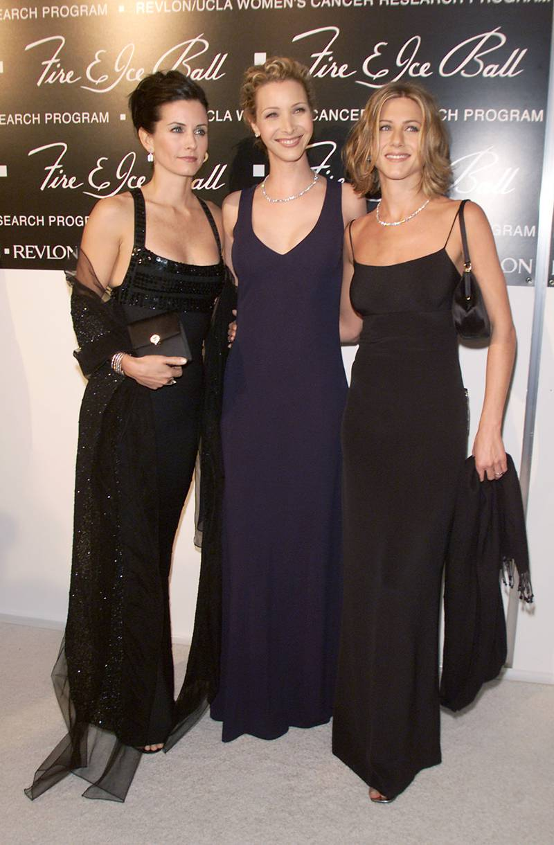 Co-hosts Courteney Cox Arquette, Lisa Kudrow and Jennifer Aniston at 'The 10th Annual Fire & Ice Ball', a gala event, hosted by Lilly Tartikoff and Ronald O. Perelman, to raise funds for Revlon/UCLA women's cancer research program. 12/11/00 at the Beverly Hilton Hotel in Los Angeles, Ca. (Photo by Kevin Winter/Getty Images)