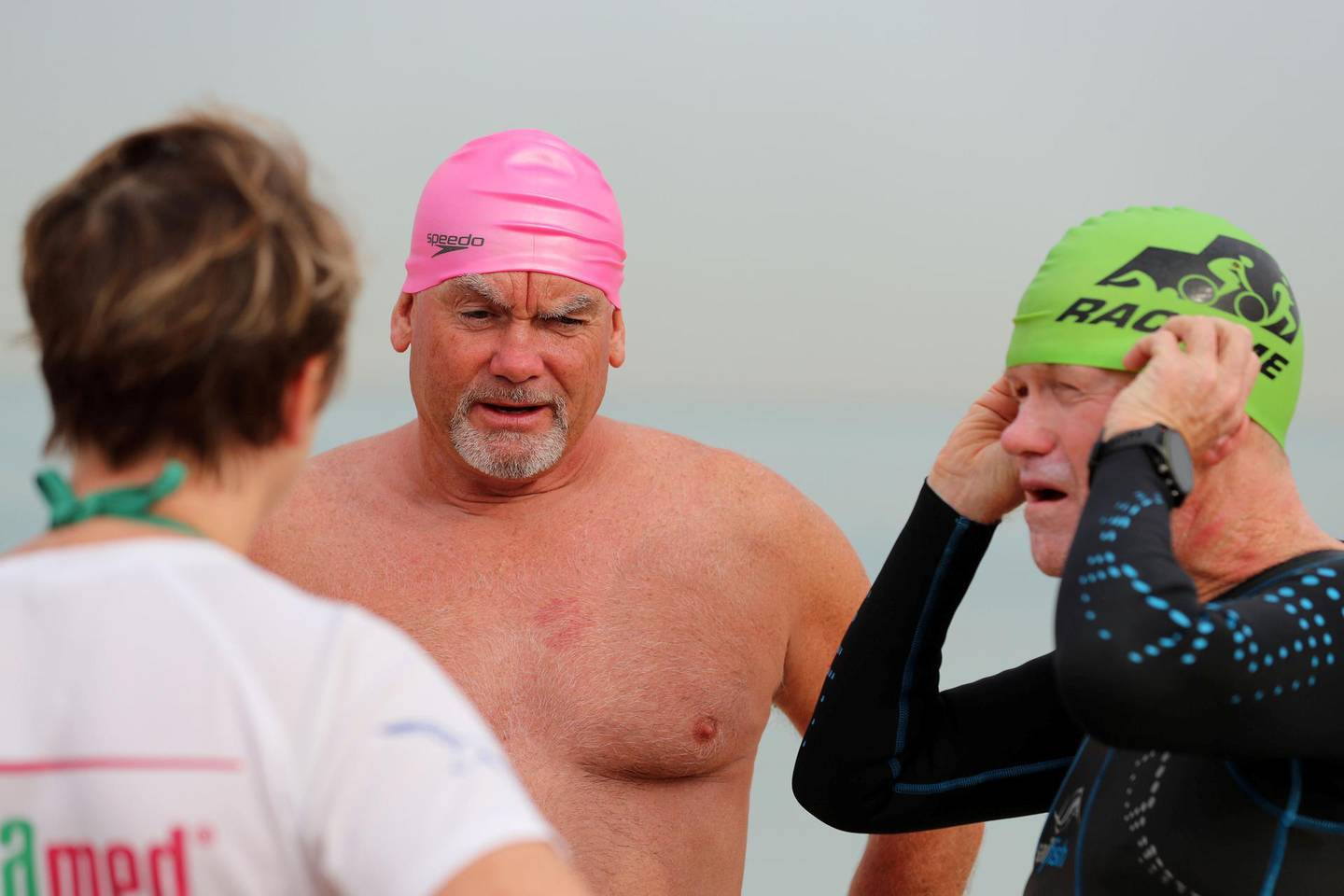 Dubai, United Arab Emirates - Reporter: Nick Webster: Tom Lynch and Ralph Joyce (R). The first 24km swim round the world islands will take place in November. A team of swimmers are doing a trial 5 km event to Antarctica on April 3, setting off from Dubai Offshore Sailing Club. Saturday, March 14th, 2020. Jumeirah, Dubai. Chris Whiteoak / The National