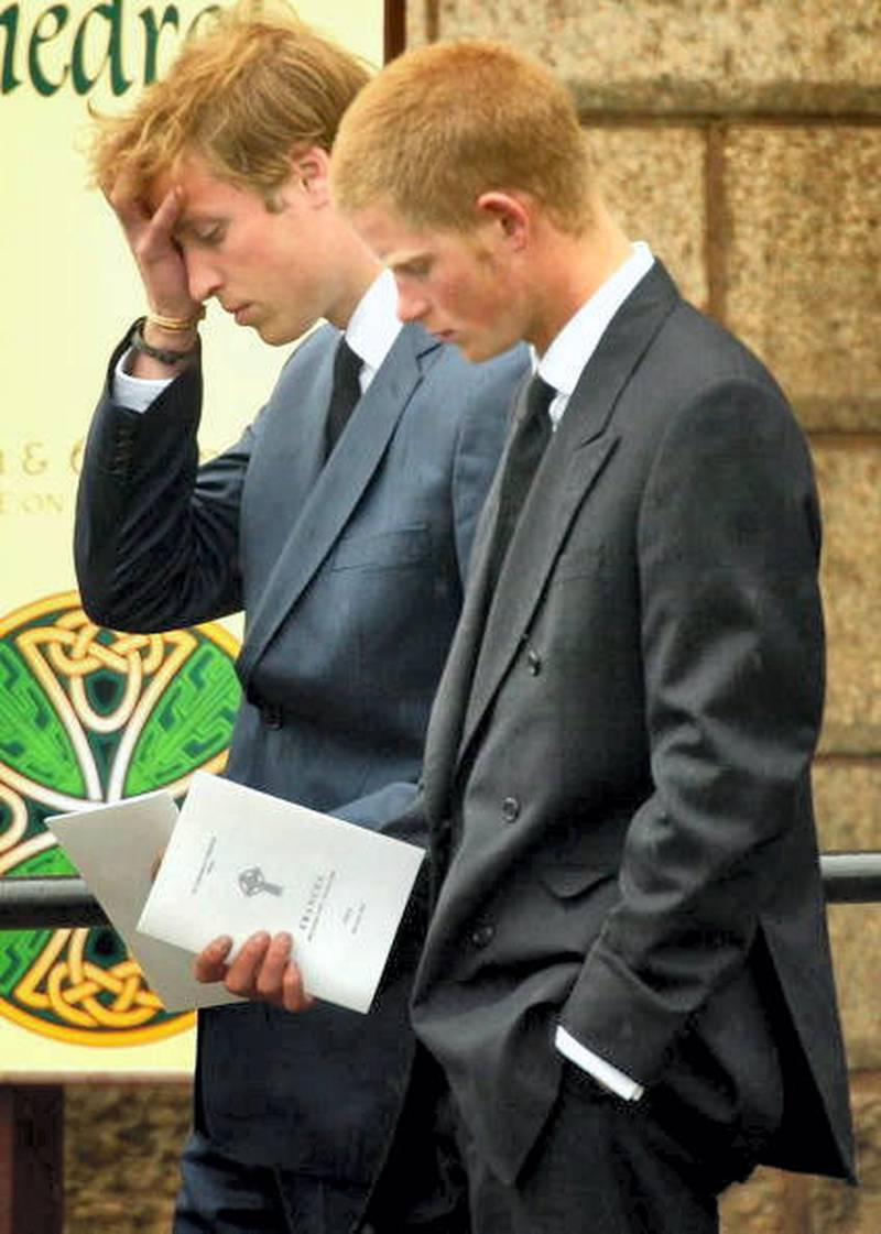 OBAN, SCOTLAND - JUNE 10:   Prince William (L) and Prince Harry follow the coffin of their grandmother and  Princess Diana's mother, Frances Shand Kydd at the Cathedral of Saint Columba on June 10, 2004 in Oban, Argyll & Bute, Scotland. Mrs Shand Kydd died last Thursday, June 3, at her home on the remote Isle of Seil, aged 68, after a long illness.  (Photo by Christopher Furlong/Getty Images)