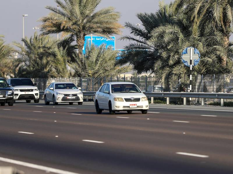Abu Dhabi, U.A.E., January 6, 2018.  Covered road signs along E10 highway towards Abu Dhabi from Dubai.  Located infront of Al Raha Mall.Victor Besa / The NationalNational