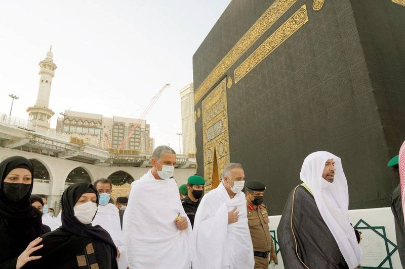 Iraqi Prime Minister Mustafa Al Kadhimi performs umrah at the Grand Mosque complex in the holy city of Makkah. Iraqi Prime Minister Media Office