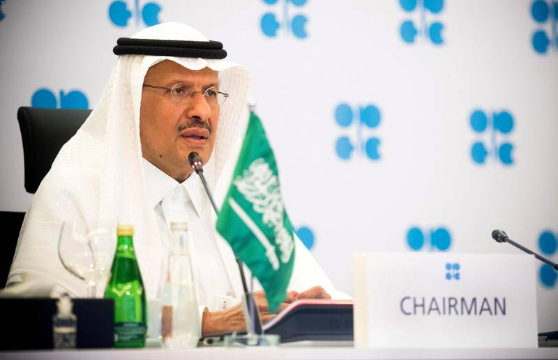 FILE PHOTO: Saudi Arabia's Minister of Energy Prince Abdulaziz bin Salman Al-Saud speaks via video link during a virtual emergency meeting of OPEC and non-OPEC countries, following the outbreak of the coronavirus disease (COVID-19), in Riyadh, Saudi Arabia April 9, 2020.Saudi Press Agency/Handout via REUTERS ATTENTION EDITORS - THIS PICTURE WAS PROVIDED BY A THIRD PARTY/File Photo