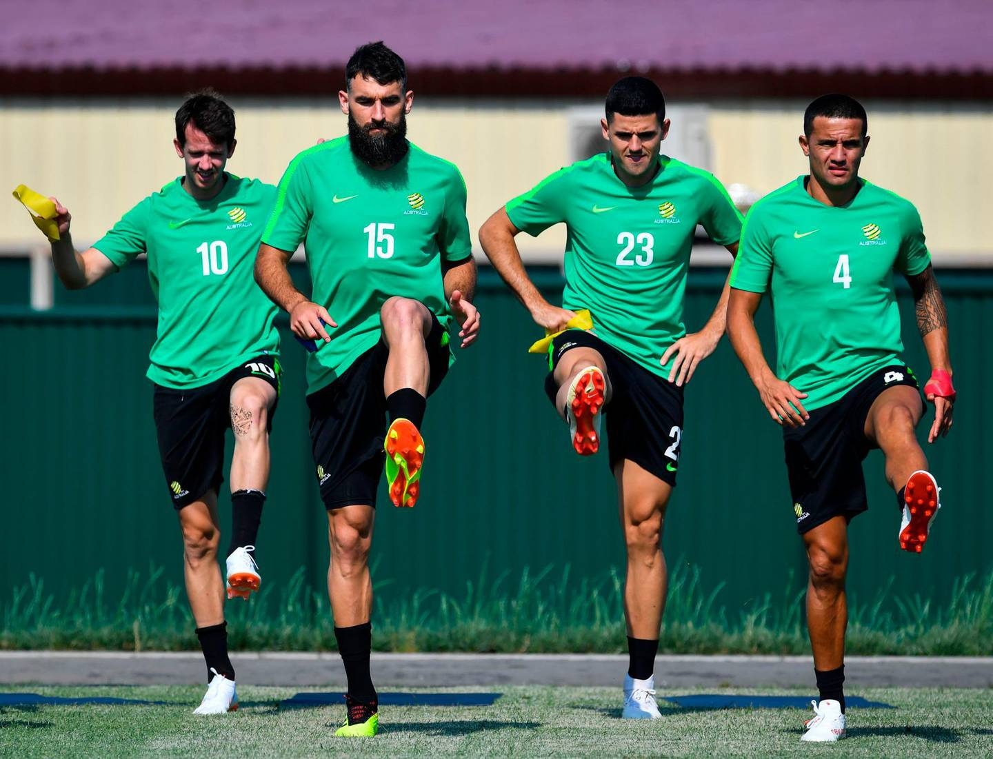L to R, Australia's forward Robbie Kruse, Australia's midfielder Mile Jedinak, Australia's midfielder Tomas Rogic and Australia's forward Tim Cahill attend a training session at the Park Arena in Sochi on June 25, 2018, on the eve of the Russia 2018 FIFA World Cup Group C football match between Australia and Peru. / AFP / Nelson Almeida