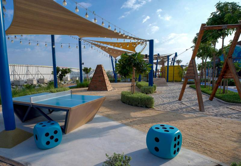 Abu Dhabi, United Arab Emirates, November 8, 2020.   The new Hudayriyat Leisure and Entertainment District at Hudayriyat Island.  The Marsana area with a ping-pong table and a fitness park.Victor Besa/The NationalSection:  NAReporter:  Haneen Dajani